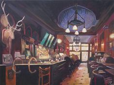"""Saatchi Art is pleased to offer the painting, """"My Deer Pub - Typical Bar Scene In Ireland Scotland or England,"""" by M Bleichner, available for purchase at $8.687 USD. Original Painting: Acrylic on Canvas. Size is 31.5 H x 39.4 W x 1.6 in. Cinque Terre, Original Paintings For Sale, Original Art, Canvas Art, Canvas Prints, Art Prints, Canvas Size, Santorini, Pisa"""