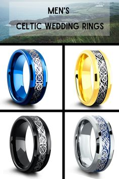 Mens Celtic Wedding Rings. These Celtic wedding bands are super durable and super comfy. Most of these Celtic rings ship within 24 hours. He really wants a Celtic ring and I just found the one! #Celticrings #menscelticrings