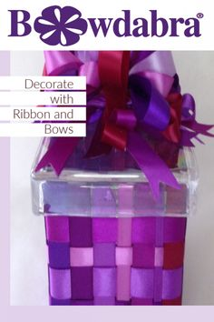 Thinking of a decorative way to dress up a plain glass box? Wouldn't it look adorable to wrap it with ribbon and bows? It's so easy and fun to decorate a glass box with Bowdabra! Ribbon Box, Diy Ribbon, Bow Making Tutorials, Craft Tutorials, Diy Crafts For Home Decor, Craft Stick Crafts, Ribbon Organization, Ribbon Storage, Wooden Craft Sticks