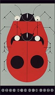 """Ladybugs Mating 3 x 5"""" (notepad), by Charley Harper. © Estate of Charley Harper"""