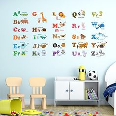 Decowall, DW-1308, Alphabet & Animals Sticker mural/Stickers muraux/tatouages   muraux/transferts mur Decowall http://www.amazon.fr/dp/B00EUWG8IC/ref=cm_sw_r_pi_dp_peu8wb1PXVB0Z