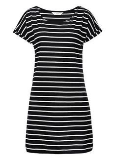 Viscose/Polyester Casual Jersey Dress. Comfortable fitting silhouette with scooped neckline and short sleeves. Available in Light Khaki stripe, Multi and Black stripe as seen below.
