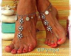 ~ Unique and Original design by GPyoga ~ = Do not copy in any way =  NOTE: Pictures 2, 3 and 4 are showing what youll exactly receive. The ankle bracelets on image 1 and 5 can be ordered separately (check the availability-read on please).  Each pair is made upon your purchase and size specification. Shoes on Pic 5 are not included, its only suggesting how to complete the look Please read on, SCROLL DOWN for more info.  This listing is for a pair of HOT PINK barefoot sandals brightly...