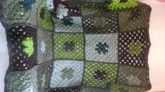Shades of Green Crocheted Wool Granny Square by TheCrochetAnything