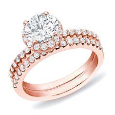Auriya 14k Rose Gold 1 1/ ct TDW Round Diamond Halo Bridal Ring Set