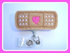 Badge Reel ID Holder Retractable - Stick it - tan pink white felt band aid - Nurse RN doctor pediatrician