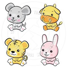 Cartoon baby wild animals images free vector download