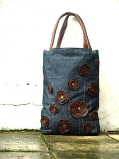 Brown Leather Bag Denim Canvas Tote Bag Studded Rustic Poppy Cowgirl Leather Purse October Fashion. $85.00, via Etsy.