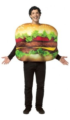 Dressing up doesn't have an age limit with the Adult Cheeseburger Costume. The adult costume is perfect for Halloween trick or treating or fall parties. The cheeseburger costume fits a maximum chest size of 48 inches and includes a bodysuit. Food Costumes, Funny Costumes, Adult Costumes, Costume Ideas, Awesome Costumes, Costume Halloween, Maske Halloween, Halloween Ideas, Trendy Halloween