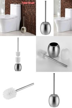 [Visit to Buy] 1SET New  Portable Stainless Steel Toilet Brush Scrubber Single-Pole Cleaner Straight Clean Brush Bathroom Accessories #Advertisement