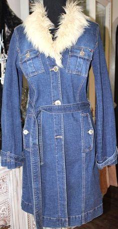 Tommy Hilfiger Stretch Denim Jacket Trench Long Coat Faux Fur Collar Women Large #TommyHilfiger #jeanjacketlongcoat