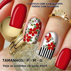 Adesivo de Unha (Cores na Descrição) Manicure, Birthday Nails, Acrylic Nails, Design Art, Nail Designs, Nail Art, Pretty, Red, Blue Nails