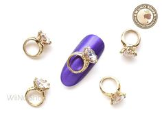 Gold Diamond Ring Nail Charm Nail Art