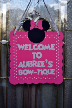 Personalized Minnie Mouse inspired Bow-tique Door Sign, Hot Pink and Silver polka dot, Club house Sign polka a dot by CelebrateCustomEvent on Etsy