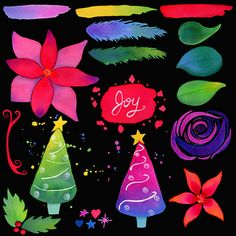 Bold, colorful, hand painted Christmas clip art with commercial license included.