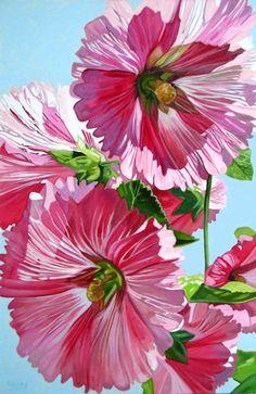 """Nieley """"Magenta Hollyhocks"""" 24""""x36"""" oil on canvas"""