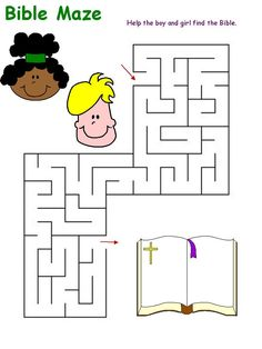 Maze Puzzles For Kids Bible - Fun Stuff Toddler Sunday School, Sunday School Lessons, Printable Mazes, Printable Crafts, Mazes For Kids, Bible For Kids, Bible Coloring Pages, Printable Coloring Pages, Preschool Bible