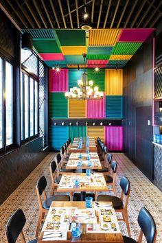 View full picture gallery of Thai Riffic Mexican Restaurant Design, Deco Restaurant, Restaurant Concept, Thai Restaurant, Colorful Restaurant, Coffee Shop Design, Cafe Design, Store Design, Bar Bistro