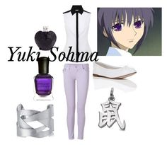 """""""Yuki Sohma- Fruits Basket"""" by animedowntherunway ❤ liked on Polyvore featuring Karen Millen, True Religion, Repetto, N.Y.L.A., Deborah Lippmann and Vera Wang"""