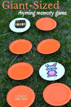 Play a giant-sized rhyming memory game to build phonological awareness. A perfect gross motor activity for outside or inside. Works for preschoolers and kindergarteners. Adapt for letter/number of the week, phonemic awareness, or correspondence Backyard Games Kids, Outdoor Activities For Kids, Outdoor Learning, Toddler Activities, Games For Kids, Outdoor Play, Summer Activities For Preschoolers, Rhyming Activities, Gross Motor Activities