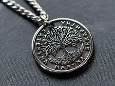 Tree Of Life Necklace, Tree Of Life Pendant, Men Necklace, Hippie Chic, Custom Engraved Necklace, Micro Macrame Tutorial, Micro Macramé, Engraved Gifts, Unique Necklaces