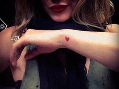 Wrist tattoo - red heart #celeb #tattoo