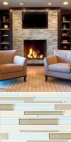Walker Zanger Skyline Avenue Blend is a great glass tile to liven up your fireplace.
