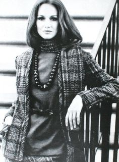 Karen Graham is wearing a Chanel-inspired suit by Mario Forte. Vogue US August 1973
