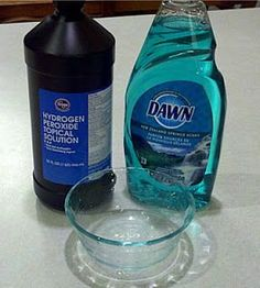 Dawn and hydrogen peroxide to remove yellowing and stains!