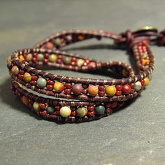 Jasper Gemstone Leather Wrap Bracelet from www.mymusejewelry.com