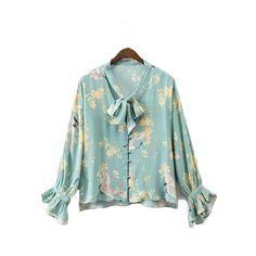 Ruffles bow tie blouse