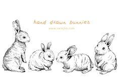 Easter Bunnies, Doodle Clipart by swiejko on Creative Market