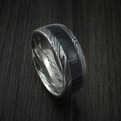 Kuro Damascus Steel Ring with Charcoal Hardwood Inlay Custom Made Band