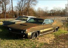 Im searching for this exact year, trim & color. My dad had one exactly like it when i was a kid. His was a Cobra Jet though. Now i want to build him another one and give it to him. Abandoned Cars, Abandoned Vehicles, Mustangs, Junkyard Cars, Wrecking Yards, Car Barn, Ford Torino, Rusty Cars, Ford Fairlane