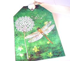 Dragonflies And Flowers On A Beautiful Green BAckground Set of 6 Gift Tags