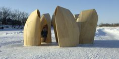 Winnipeg Skating Shelters / Patkau Architects  What a great idea.  They look as though they're bowing or having conversations