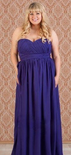 A Grecian styled dress looks so flattering on a plus size bridesmaid