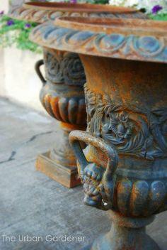 Pair of Antique Cast Iron Urns