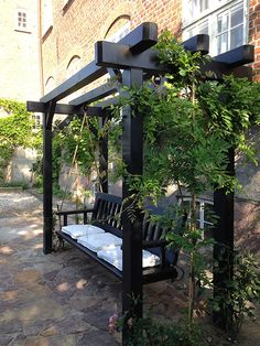 Gyngesofa The post Gyngesofa appeared first on Gartengestaltung ideen.Gyngesofa Gyngesofa The post Gyngesofa appeared first on Gartengestaltung ideen. Backyard Pergola, Backyard Landscaping, Landscaping Ideas, Outdoor Pergola, Modern Pergola, Pergola Kits, Pergola Swing, Pergola Roof, Black Pergola