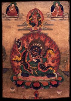 Mahakala (Buddhist Protector): this is a very rare version of Mahakala. It is Bernagchen, the special protector of the Karmapa (who appears in the upper let corner wearing his famous black hat, in this case it happens to be Mikyöd Dorje the 8th Karmapa) head of the Karma Kamtsang. Above Mahakala is the yidam of the Kargyudpas, Dorje Palmo with Shamarpa in the upper right. The lack of an entourage indicates that this thangka was painted expressly for the purpose of supporting visualization…