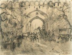 Adrien-Jean Le Mayeur de Merpres (Belgian, 1880 - 1958) The Door in Jaipur, ca. 1930 Pencil drawing on paper, 20 x 26 cm