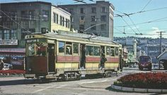 Two-saloon tram, Wellington, April 1963 Wellington New Zealand, Old Buildings, All Over The World, Wwii, Street View, Train Stations, Australia, History, Buses