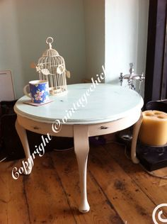 Large round shabby chic coffee table , duckegg top and cream queen. Anne legs #paintedfurniture #country #vintage