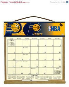 ON SALE Indiana Pacers Wooden Refillable  by kimscalendars on Etsy, $20.00