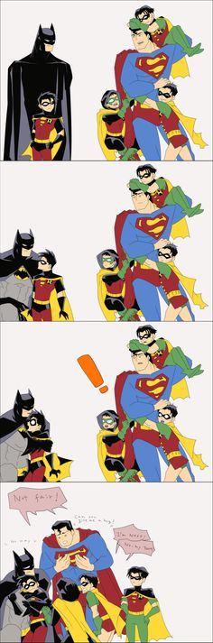 miharu-work: 久しぶりのらくがき。Batman & Superman & Robins.