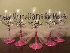 5 (Five) Bridesmaid Glitter Stemmed Wine Glasses; Bride and Groom Glasses, Bridesmaids, Mothers of Bride/Groom, Fathers of Bride/Groom on Etsy, $37.50