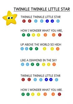 Learn Piano Keyboard Twinkle Twinkle Litter Star - Easy Piano Music Sheet for Toddlers. How to teach young children to play music keyboard using coloured stickers. Piano Music For Kids, Piano Lessons For Kids, Easy Piano Songs, Easy Piano Sheet Music, Flauta Melodica, Keyboard Noten, Keyboard Lessons, Music Keyboard, Piano Teaching