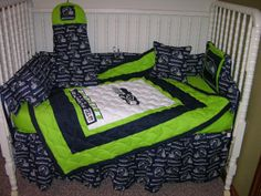 Crib Bedding Set m/w Seattle Seahawks Fabric on Etsy, $300.00