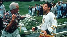 """64. Happy Gilmore (1996) The Fight: At a golfing tournament, Happy is partnered with TV show host Bob Barker, but when Bob starts complaining about Happy's performance, they launch into a full-scale punch-up right there on the golfing green.  Killer Move: After taking several punches to the face, Happy launches himself at Bob, wrestles on the ground and delivers a crunching headbutt, followed by a smug """"The price is wrong, bitch!"""""""