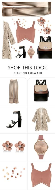 """""""It's all about the Backpack"""" by kim-mcculley ❤ liked on Polyvore featuring River Island, Carven, Allurez, Olivia Burton, Umbra and holdontothatbag"""